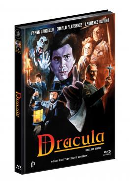 DRACULA (1979) - 5-Disc Ultimate wattiertes Mediabook Cover A - Rekonstruierte Original-Farbfassung [2 Blu-ray + 3 DVD] + inkl. A1 Poster, gerollt