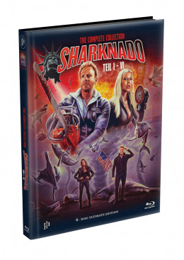 SHARKNADO 1-6 - 6-Disc wattiertes Mediabook Cover A (6 Blu-ray) Limited 500 Edition - Uncut
