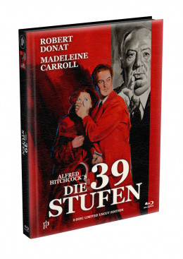 Alfred Hitchcock´s - DIE 39 STUFEN (The 39 Steps) 1935 - 2-Disc wattiertes Mediabook Cover A (Blu-ray + DVD) Limited 500 Edition - Uncut